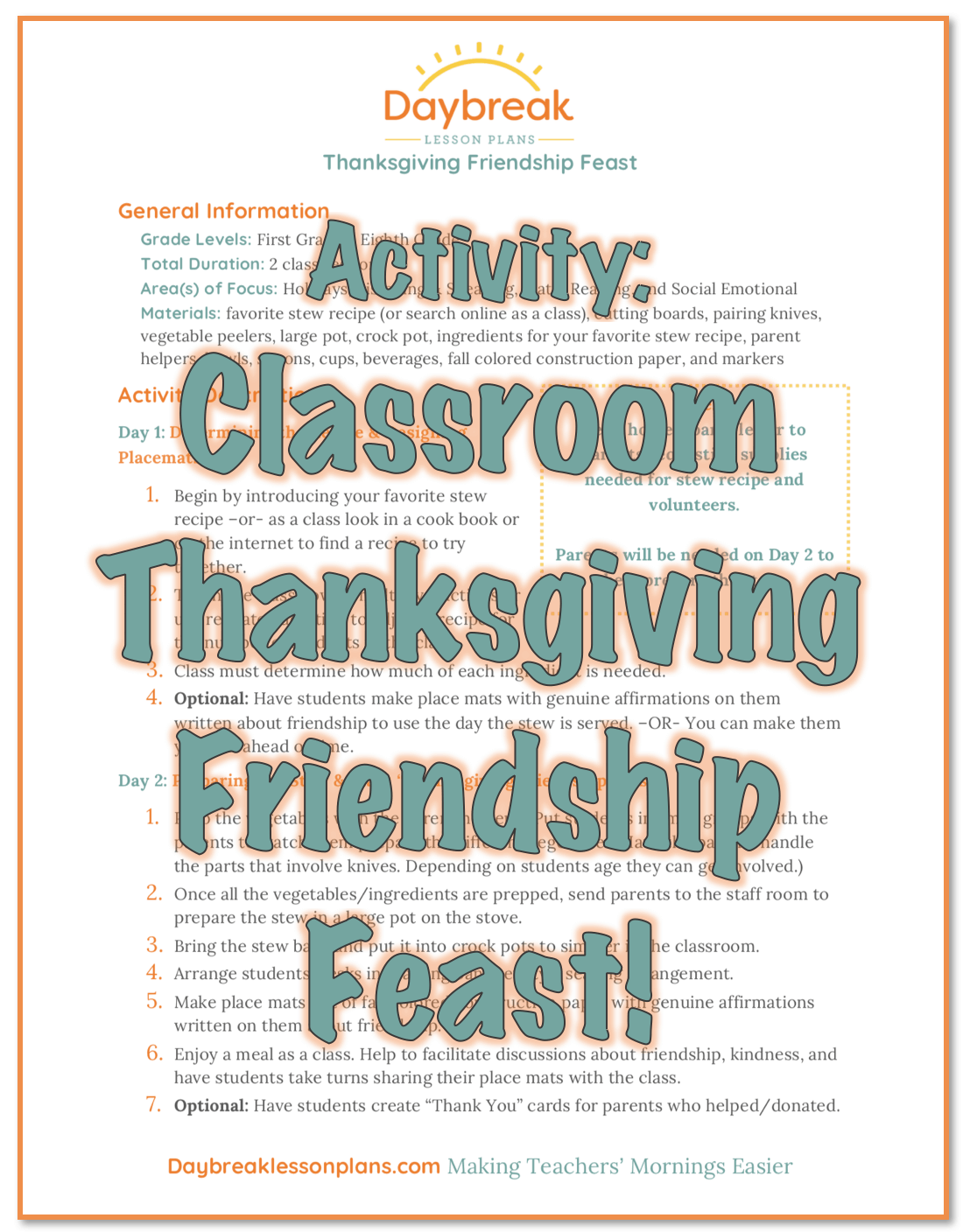 Free Thanksgiving Friendship Feast Activity - Daybreak Lessons