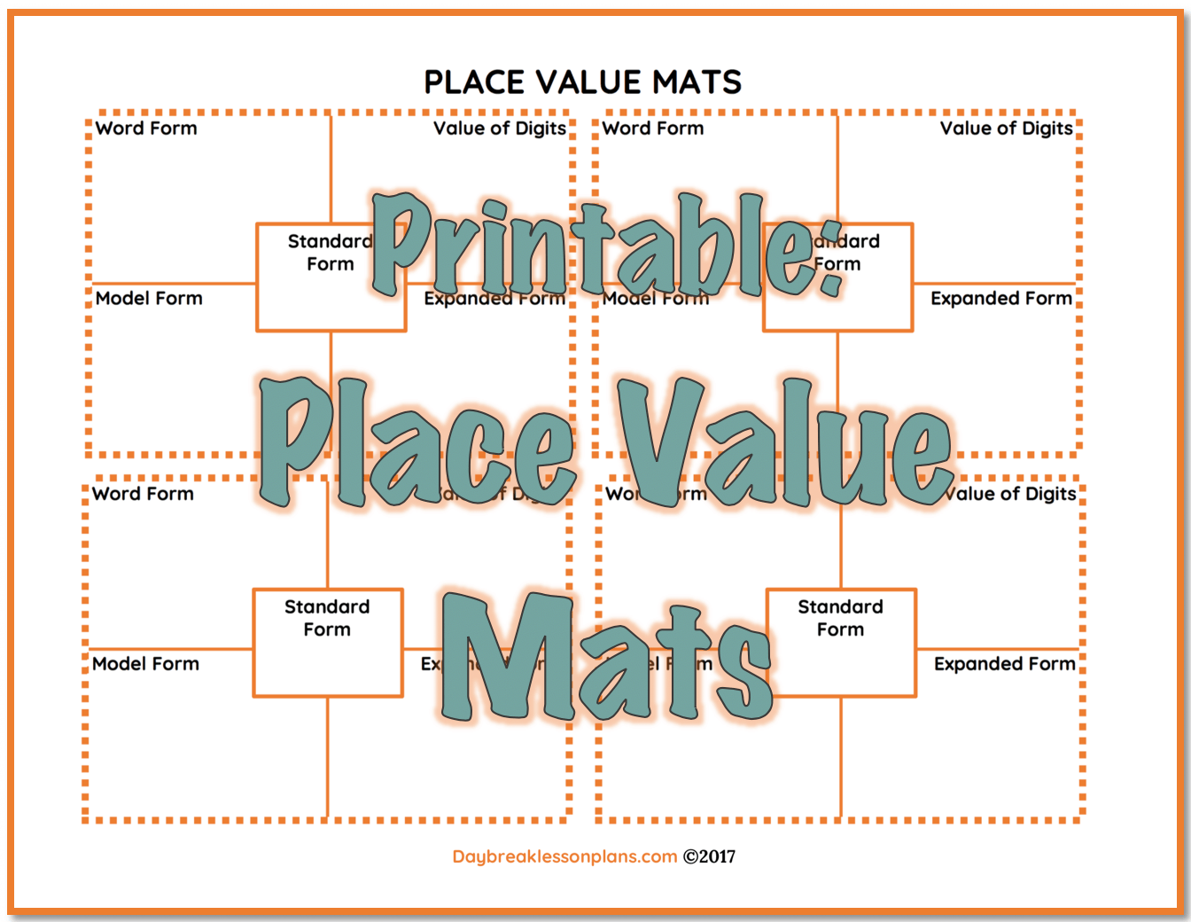 Freebies daybreak lessons printable place value mats use these place value mats to have your students practice taking a number from standard form to word falaconquin