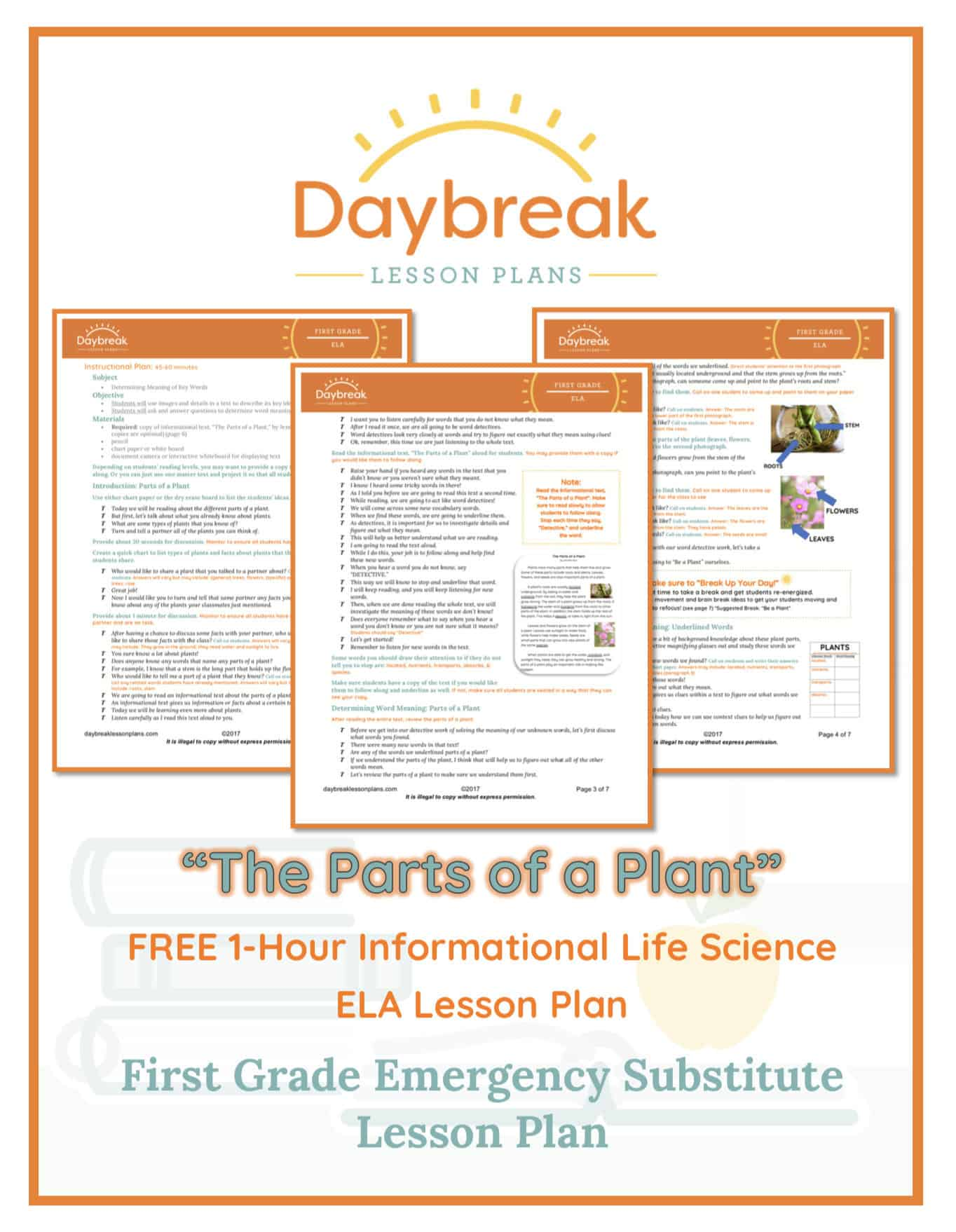 Illustration of the free 1st Grade ELA lesson plan covers