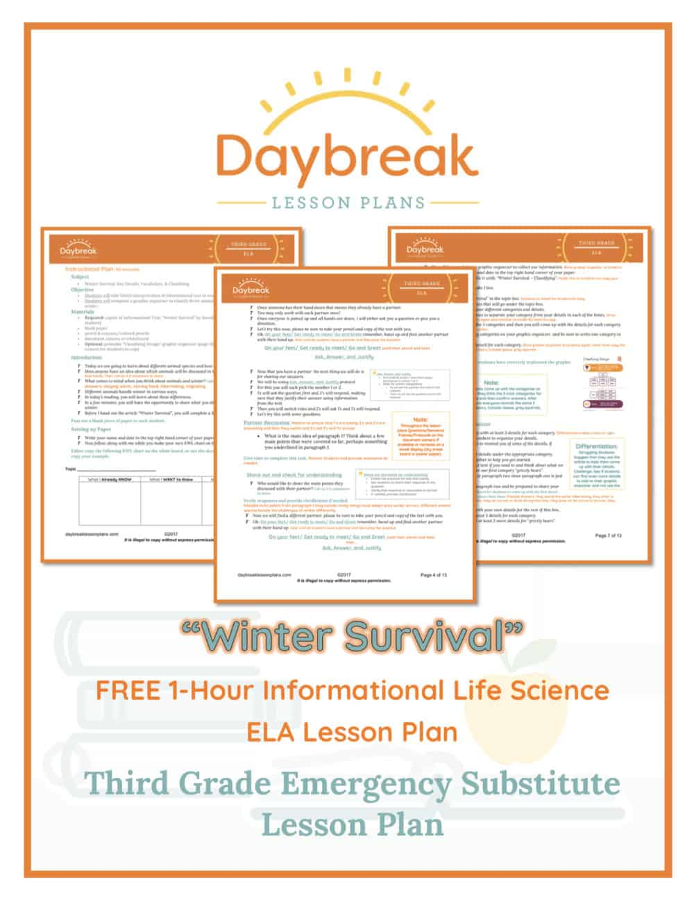 Illustration of the free 3rd Grade ELA lesson plan covers
