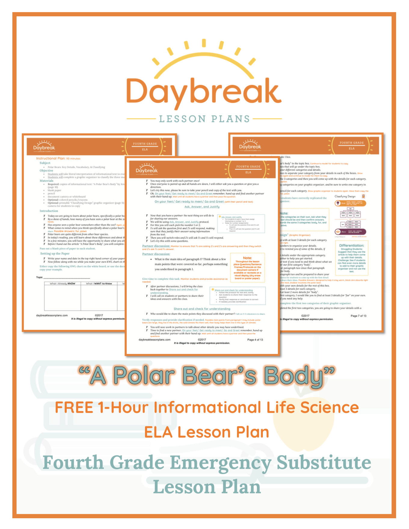 Illustration of the free 4th Grade ELA lesson plan covers