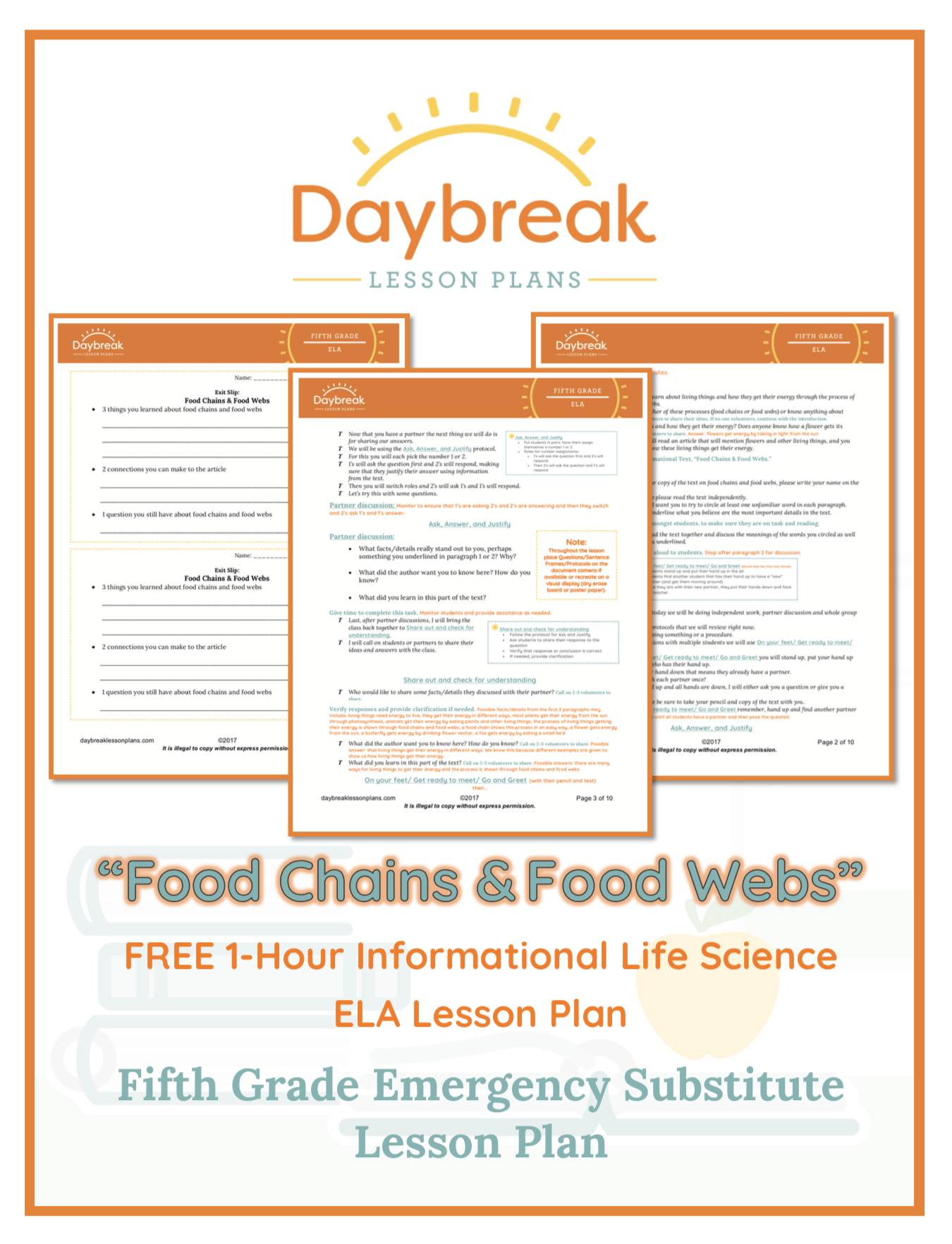 Illustration of the free 5th Grade ELA lesson plan covers