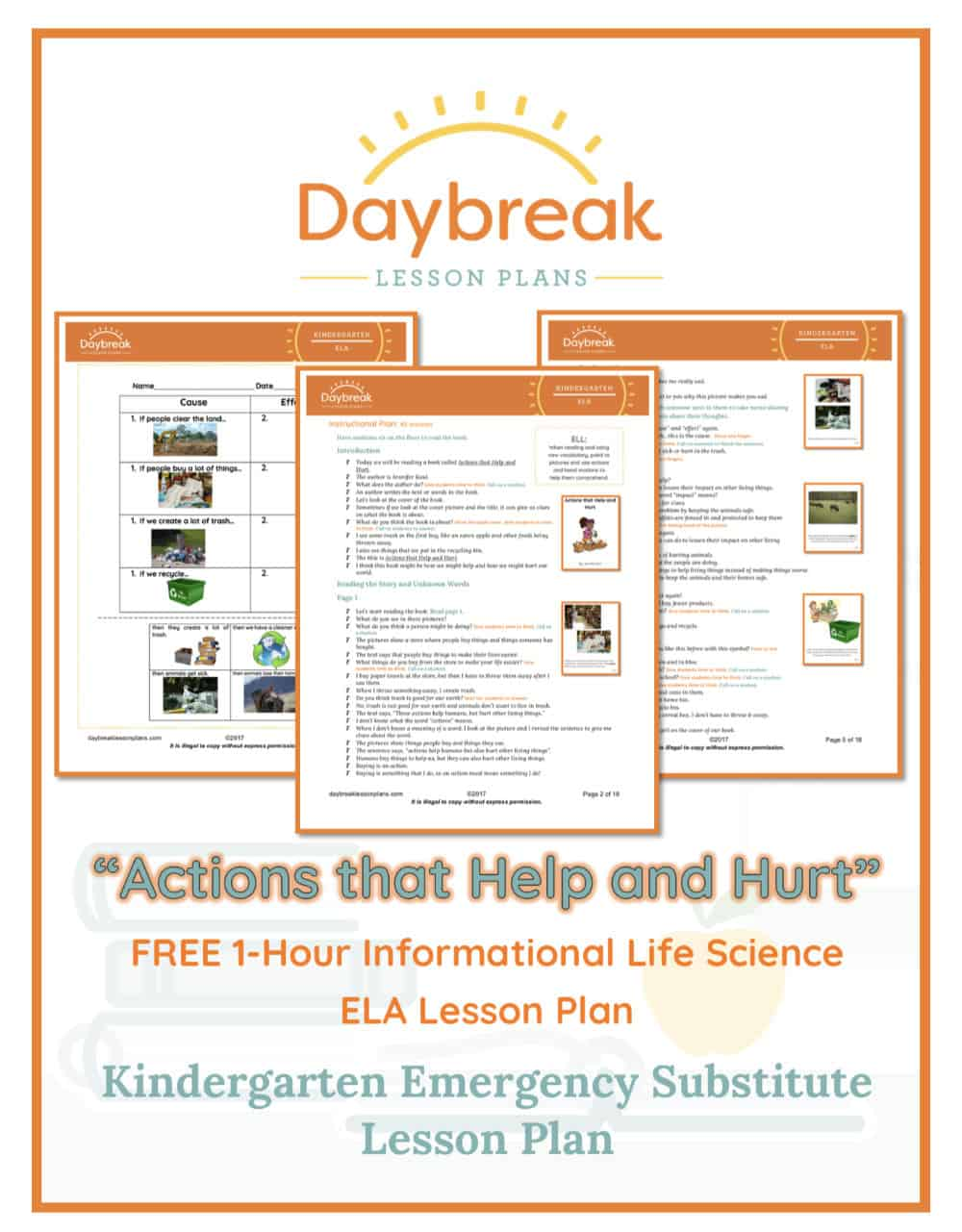 Illustration of the free Kindergarten ELA lesson plan covers