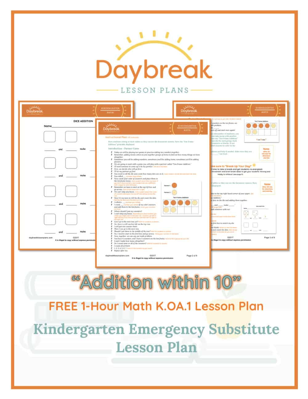 Illustration of the free Kindergarten Math lesson plan covers