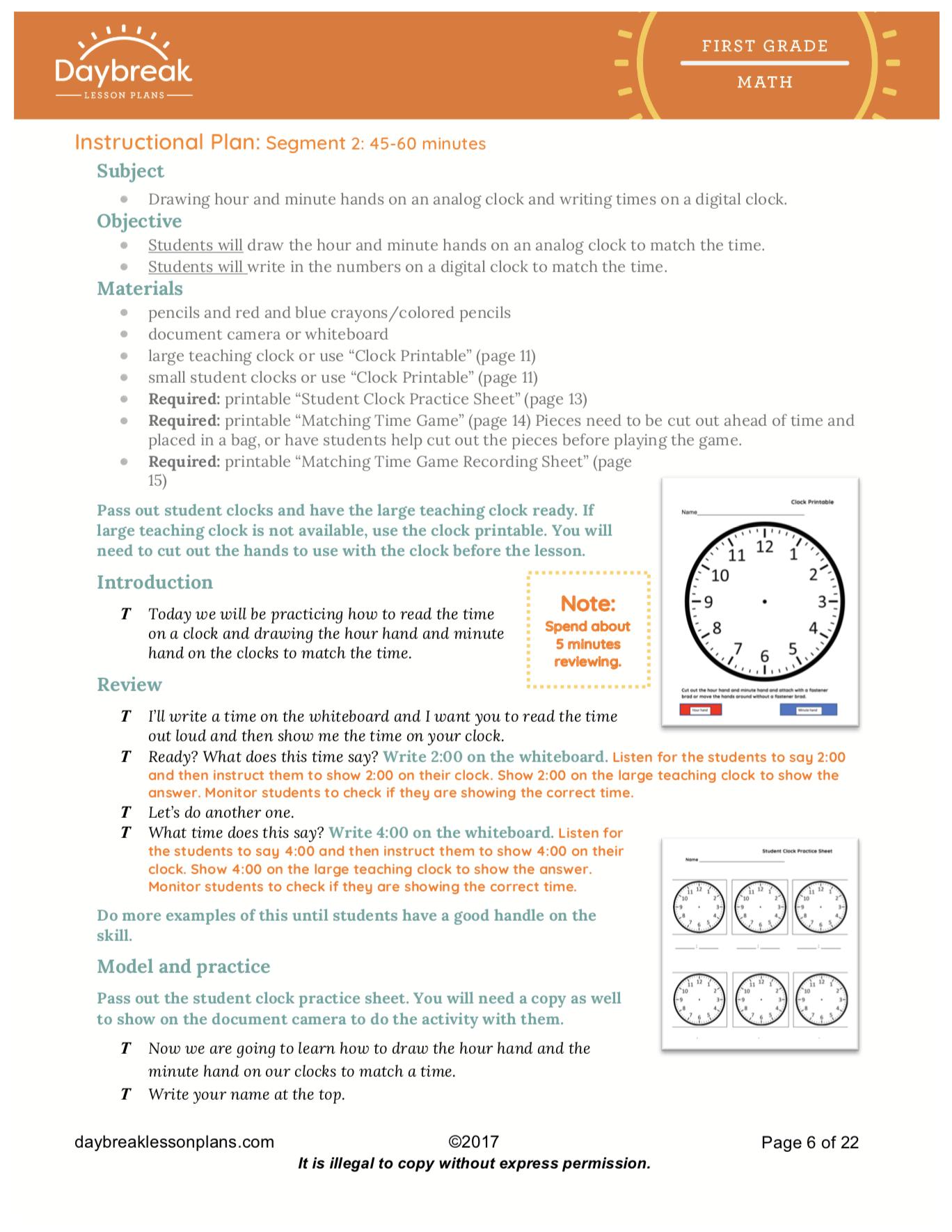 First Grade Common Core Lesson Plans   1st Grade Sub Plans