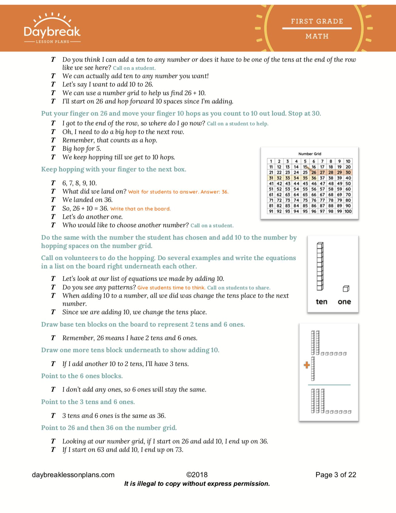 First Grade Common Core Lesson Plans | 1st Grade Sub Plans